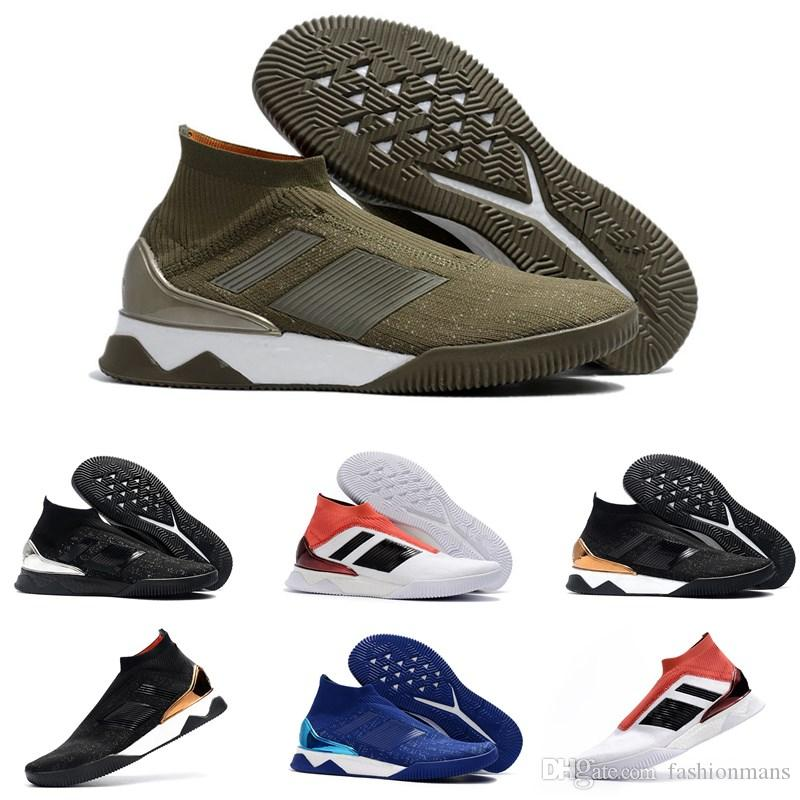Original Ankle high knitting soccer cleats Predator Tango 18+ TR Indoor soccer shoes mens football boots soccer cleats Black Gold fashionable cheap price b9dK73Qd