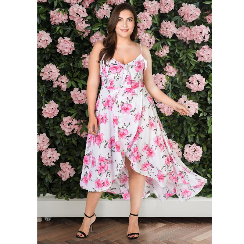 2018 Women Maxi Dress Plus Size white pink summer Floral Print V Neck Boho  Long Beach Midi sundress Sleeveless 3xl 4xl 5xl 6xl