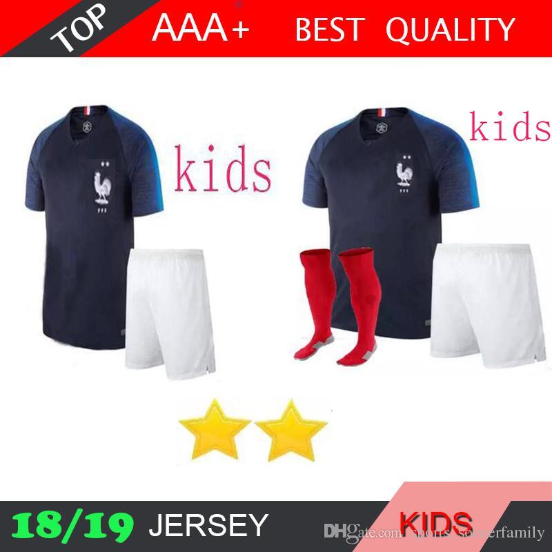 2 Stars Kids GRIEZMANN Home POGBA MBAPPE UMTITI Kits Sock Soccer ... 1782e59c9