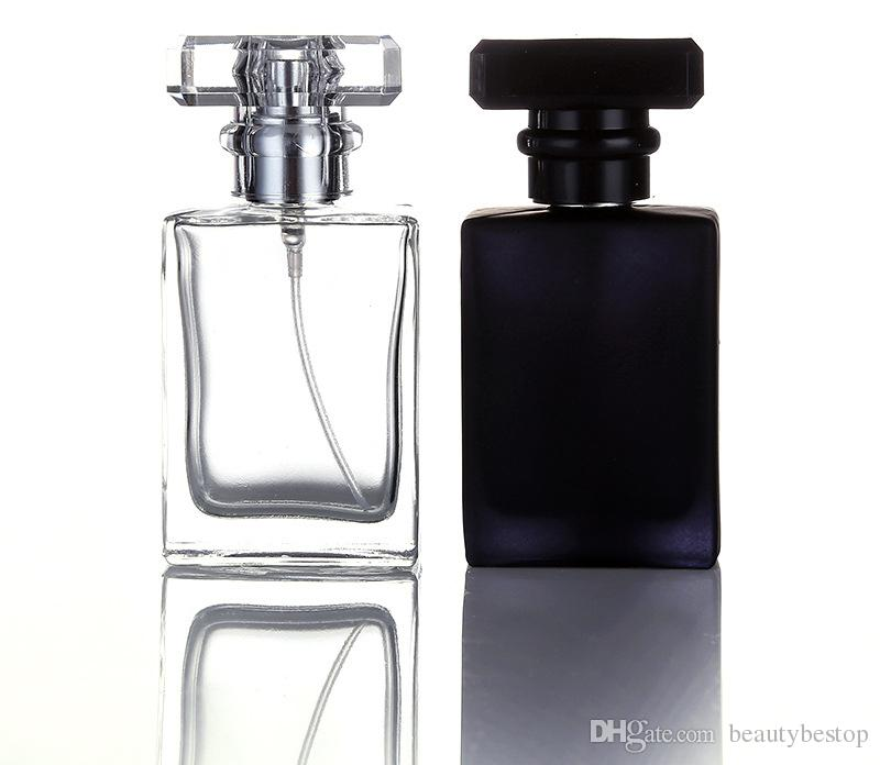 Hot Sale 30ml Clear Black Portable Glass Perfume Spray Bottles Empty Cosmetic Containers With Atomizer For Traveler