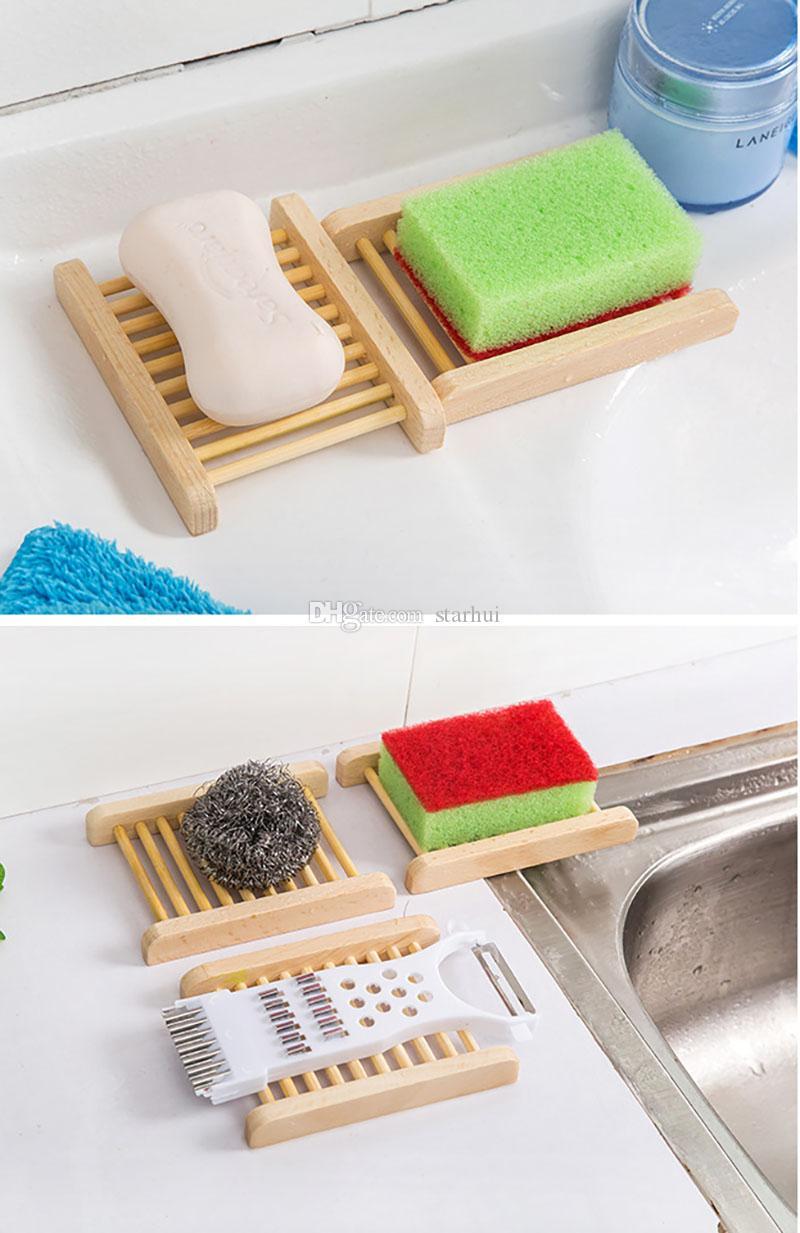 Bambù naturale sapone di legno Piatti Supporto di legno del vassoio del sapone bagagli Soap Rack Piastra Box Contenitore vasca doccia Bagno WX9-383