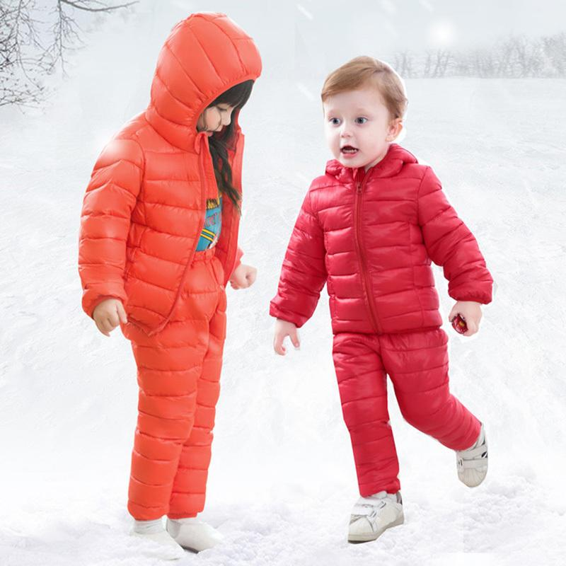fd611f9a798b Children Winter Clothes Sets Cotton Padded Hooded Jacket+Pants Baby ...