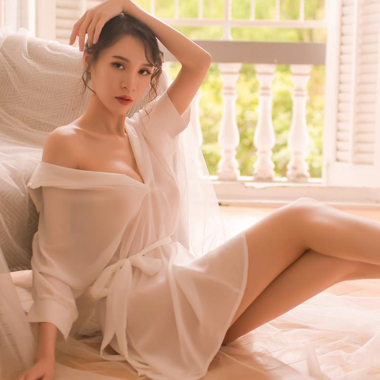 6183a13dfcdf3 Black White New Chiffon Sexy Lingerie Pajamas for Women Summer Long White  Shirt Bathrobe Kimono Nightwear Bridal Sleepwear S927