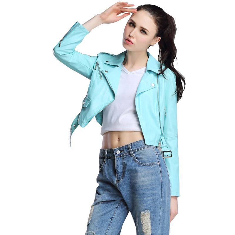 5aecdb176f7 2019 Red Leather Jacket Women Short White Motorcycle Biker Jackets Veste  Cuir Femme Pink Black Soft Coats Blouson Cuir Femme UV1063 From Salom, ...