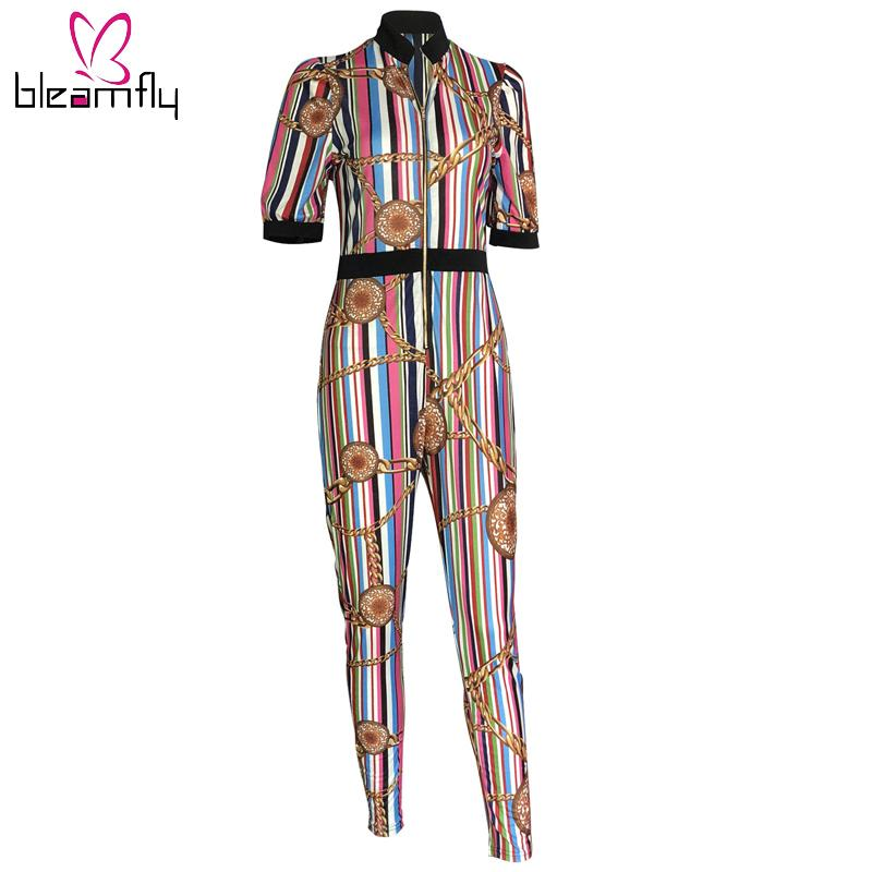 ecfe7f7d179 2019 Stripe Casual Women Jumpsuit Romper Elastic Baseball Suit High Waist  Fitness Playsuit Striped Zipper Bodycon Slim Jumpsuit From Philipppe