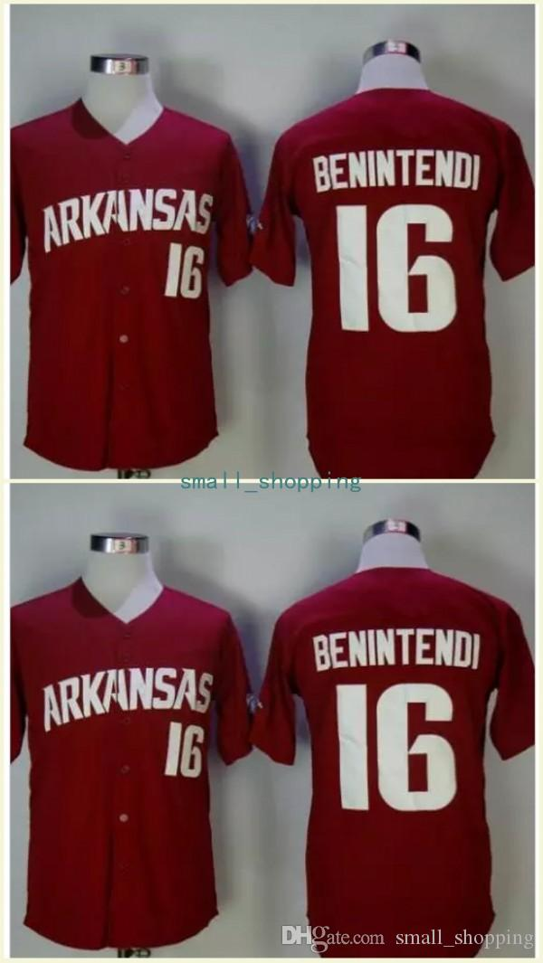 78a2b4acc 2019 NCAA Baseball Arkansas Razorbacks College Jerseys 16 Andrew Benintendi  Jersey Boston Home Maroon Red From Small shopping