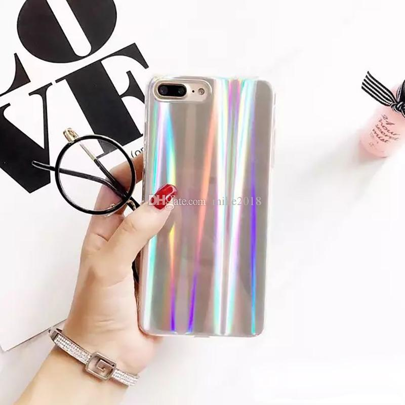 Luxury Rainbow Glitter Phone Case For iPhone 8 X Cool Laser Colorful Shining Case For iphone 7 6 6S Plus Soft TPU Silicone Cover