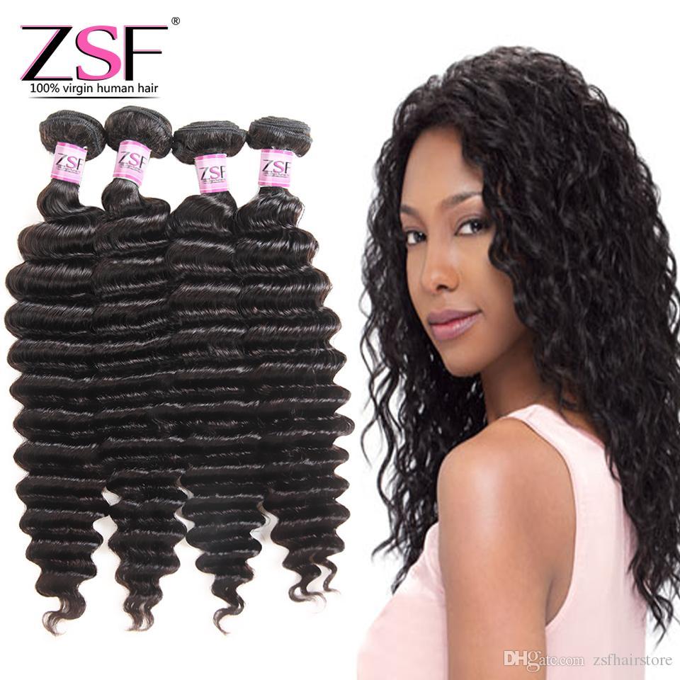ZSF Best Price 8A 100% Unprocessed Brazilian Human Hair 4 Bundles Hair  Extensions Deep Wave Human Hair Weave Best Hair Weave For Black Women Best  Quality ... 556378ddbd