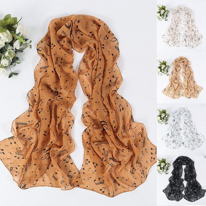 Creative Butterfly Scraf 50*160cm Korean Style Music Note Print Scarves Spring Summer Chiffon Silk Scarves For Women Lady Z30