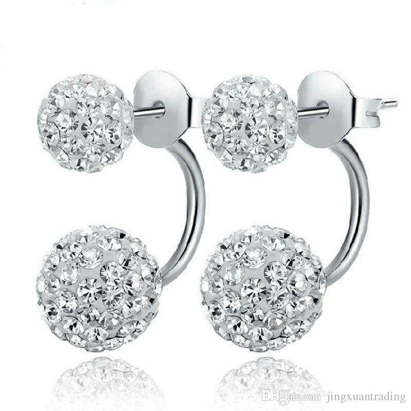 Hote sale High quality Double sided Shambala Ball Stud Earrings Crystal Rhinestone Earings 925 Silver plated Jewelry stud for women girls
