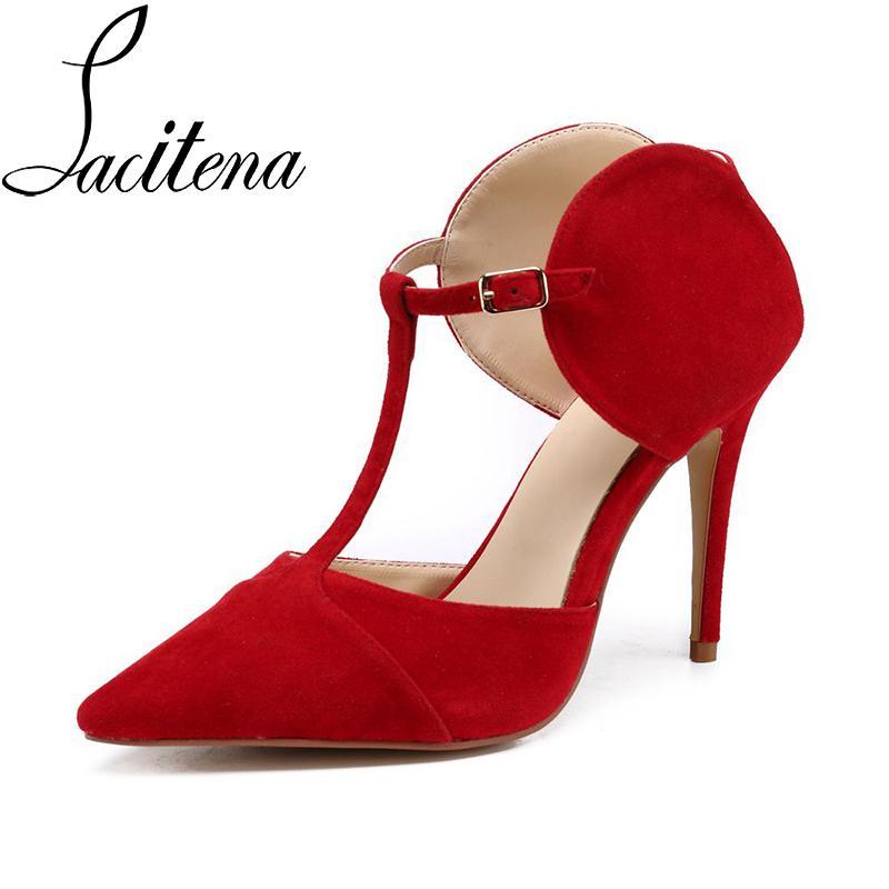 68c4d9bdd6 Compre Mulheres Flook Sandálias De Salto Capa De Cor Vermelha Mulheres  Sapatos De Jantar Sapatos De Festa De Mingshoe001