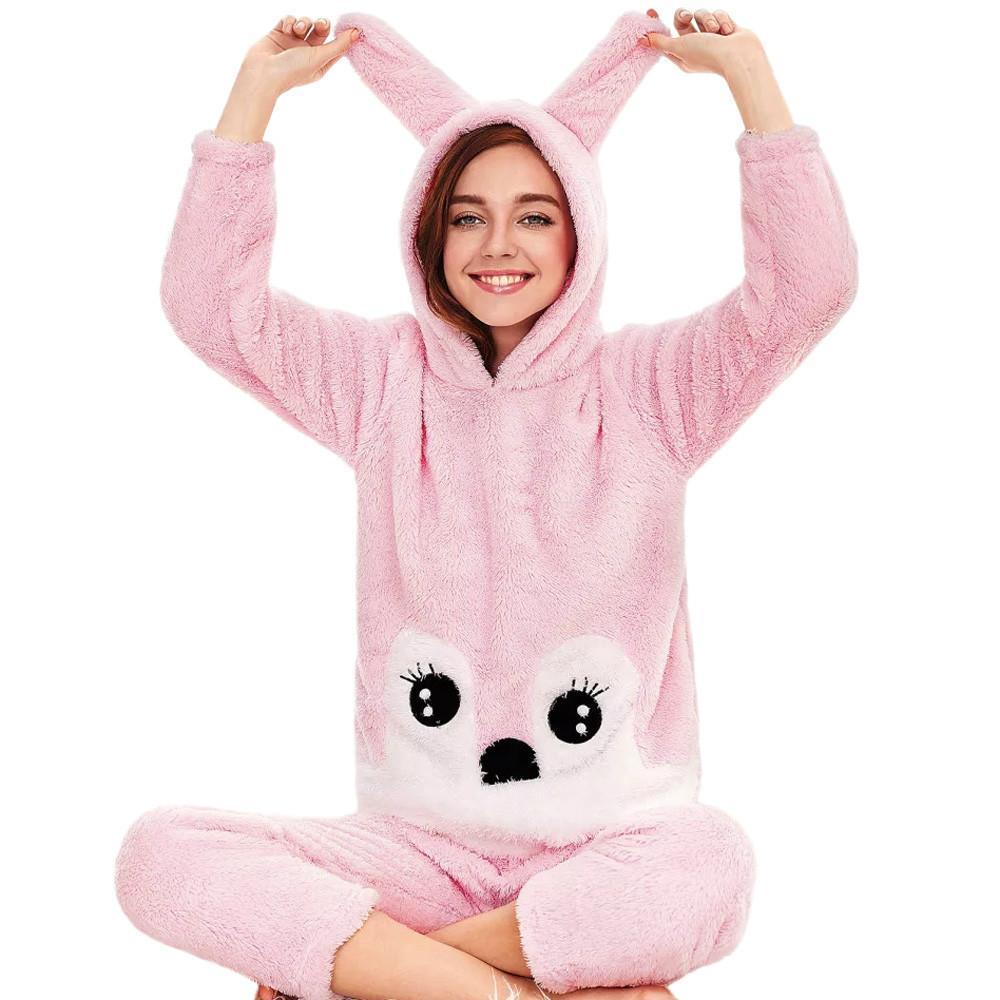 7f0368fcf Compre Mulheres Inverno Fleece Coelho Com Capuz Sleepwear Camisa Interior  De Casa Calças Pijama Dos Desenhos Animados Com Capuz Pijama Harajuku De ...