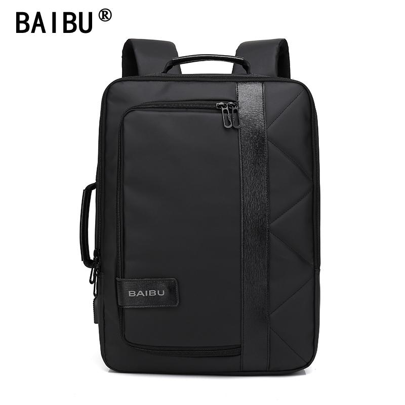98d4a2433b3f BAIBU 2018 NEW Men Backpack Waterproof Letters Big USB Charging ...