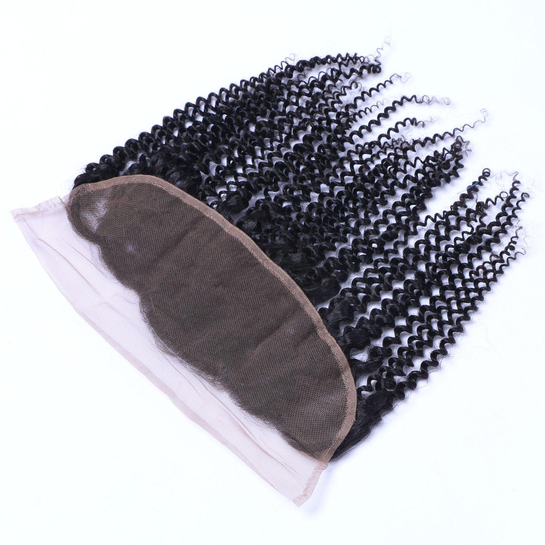 Kinky brésilien bouclé 13x4 dentelle fermeture frontale avec des cheveux de bébé Remy cheveux humains oreille à l'oreille pré plié partie libre