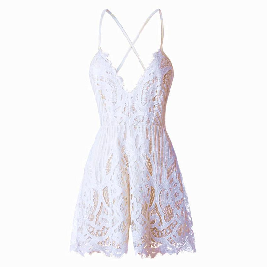XS-2XL 2017 Summer Lace Camisole V Neck Playsuit Sexy Shorts Rompers Women Bodysuit Beach White Overall Mini Jumpsuits