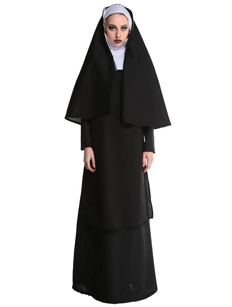a323f705578 Adult Women Classic Deluxe Nun Costume Halloween Habit Fancy Dress Sister  Hen Party Outfit sexy