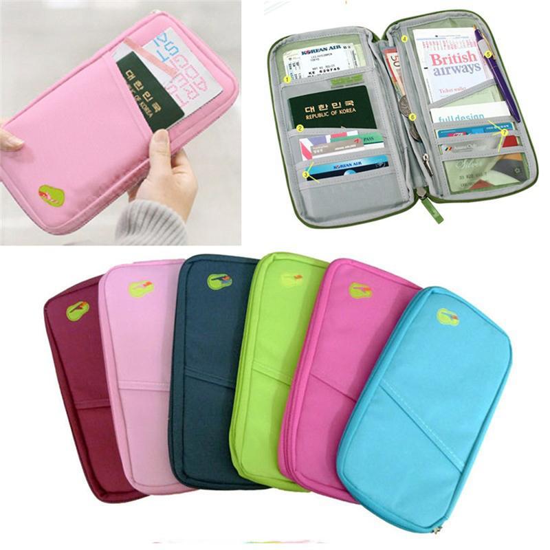 968d5fd9c074 Small Unisex Nylon Travel Document Wallet Ticket Card Cash Passport Holder  Pouch Women Men Portable Passport Bag