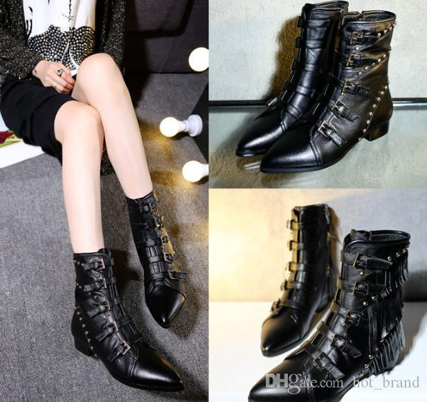 2017 New Fashion England Style Motorcycle boots Pointed Toe Spring Martin Boots Sexy Black Side Zipper Short Boots