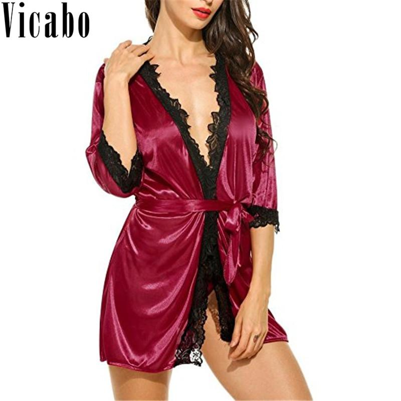f86adddb4 Sexy Ladies  Lace Satin Robe Silk Nightgown Nightwear Kimono Bathrobe with  G-String Wedding Bride Bridesmaid Robe Peignoir Femme