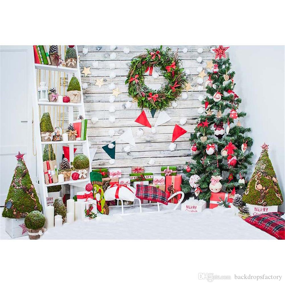2019 Newborn Baby Shower Backdrop Christmas Tree Printed Home