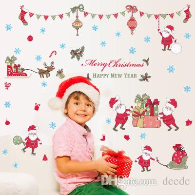 Christmas New Year Theme Wall Stickers Wallpaper Wall Picture Art Room Home Decor Kitchen Accessories Household Crafts Suppllies