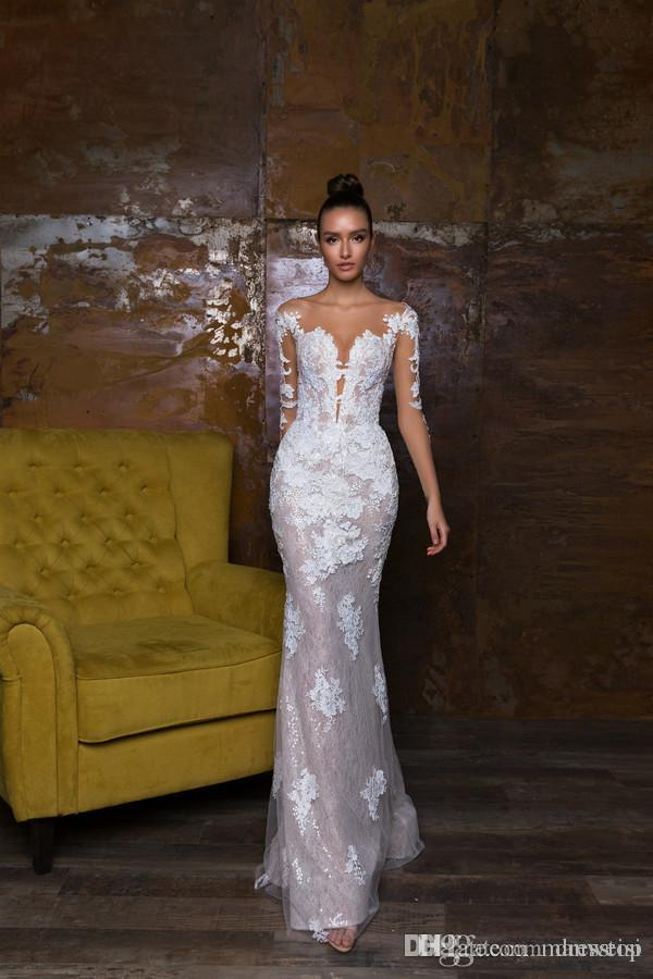 2018 Nouveau Conçu Robes De Mariée Sirène Avec Amovible Train Dentelle Appliqued Robes De Mariée Illusion Corsage Pays Robe De Mariage
