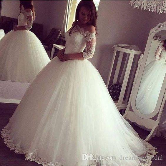 Кружева бальное платье свадебные платья новый 3/4 с длинным рукавом длиной до пола, кружева аппликация иллюзия свадебное платье свадебное платье на заказ плюс размер