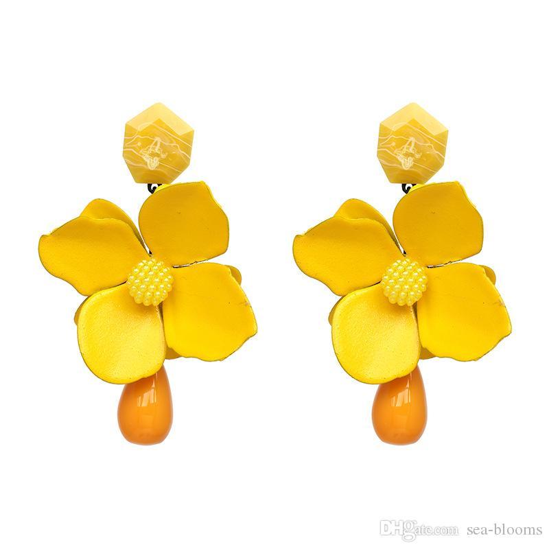 Women Fashion Jewelry Boho Flower Tassel Stud Drop Dangle Earrings Gift Petal Fringe Beach Earring Support FBA Drop Shipping H121R