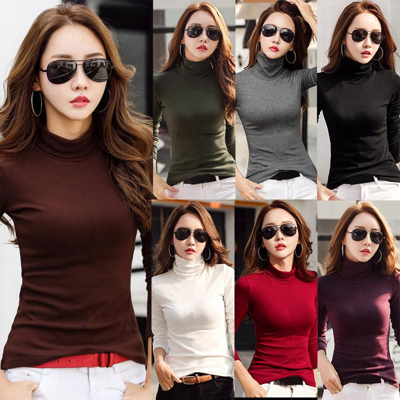 a064fc6e2568 2019 New Korean Fashion T Shirt Women Turtleneck Female T Shirt Solid Color  Long Sleeve Autumn Winter Slim Fit Top Camisas Mujer Latest T Shirt Design T  ...