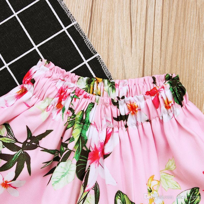 Yeni Kızlar çiçek mayo 2 adet setleri boob tüp üst + çiçek etek 1-3 T bebek toddlers sevimli plaj yüzme suit ücretsiz kargo
