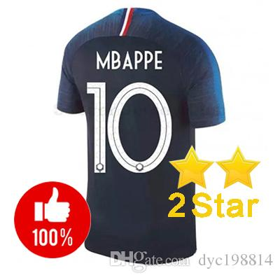 2 Stars 2018 World Cup 10 MBAPPE Home Soccer Jersey  7 GRIEZMANN  6 ... 46e370b20
