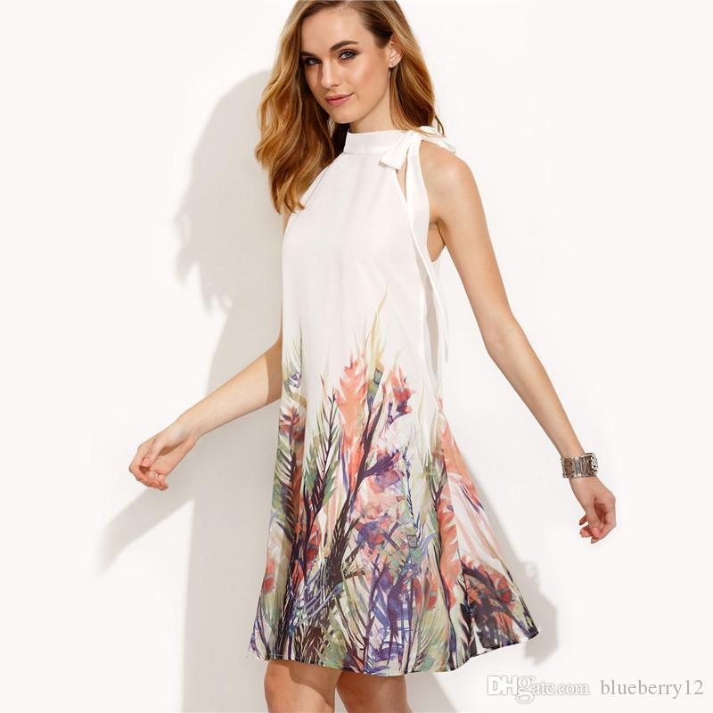 Summer Lady Halter Dress Women Romantic Floral Printed Sleeveless