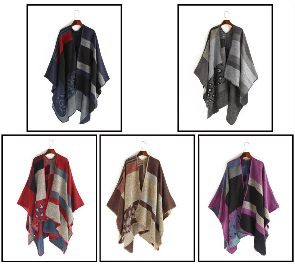 FS Cashmere Poncho Scarf Women Pashmina Fight Color Striped Feminino Inverno Coat Winter Warm Luxury Wool Scarves Shawls Wraps