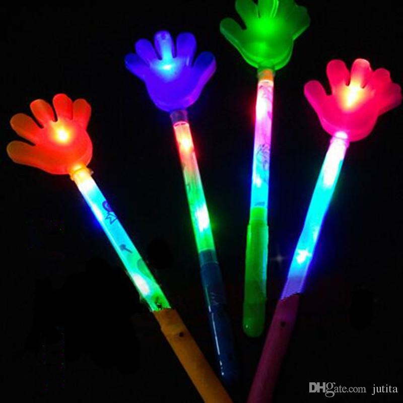 Los niños aplauden sus manos LED Light-Up Sticks Flashing Stick Cheering Props Cumpleaños Wedding Glow Party Supplies