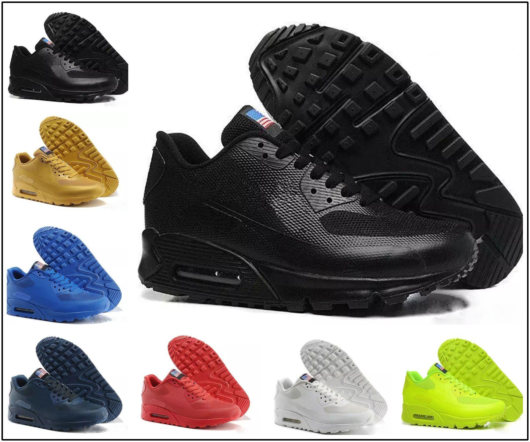 46a76cbb8a124 Compre Nike Air Max 90 HYP PRM QS 2018 Alr 90 HYP PRM QS Hombres Mujeres  Zapatillas De Running Alr 90s Bandera Americana Negro Blanco Azul Marino  Dorado ...