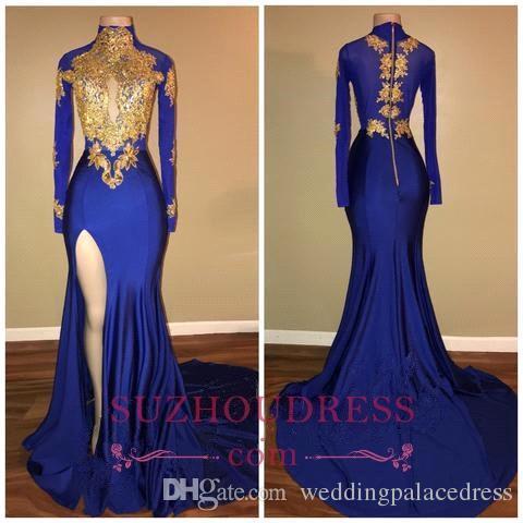 Royal Blue Seksi Denizkızı Gelinlik Modelleri 2018 Yüksek Yaka Uzun Kollu Backless Sweep Tren Elbiseler Akşam Partisi Wear vestidos de fiesta