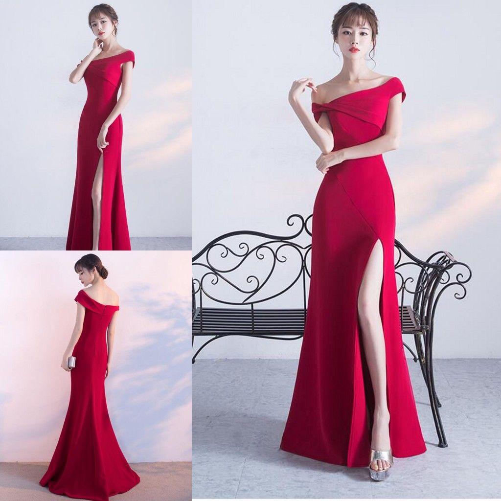 Split Schulter Abendkleider Prom Reißverschluss Hals Art Eine Rote HED29IeWY