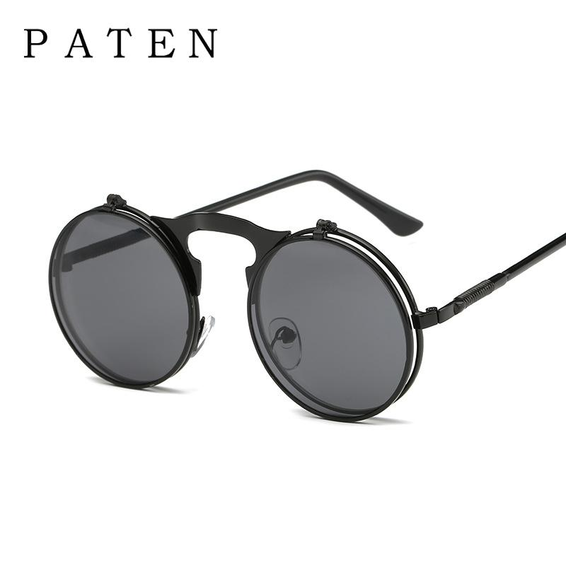 66302ff57c Men Small Round Steampunk Sunglasses Metal Gothic Cool Flip Up Tinted Lens  Punk Sunglasses Vintage Retro Style Driving Sunglasses For Men Prescription  ...