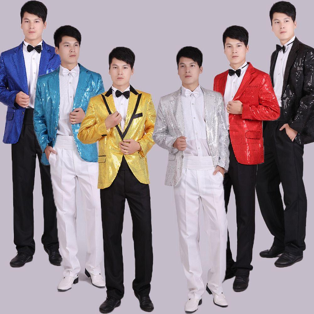 Paillette Male Master Sequins Suit Stage Costumes Men Terno Suit MC Host  Clothing Singer Suits   Blazer Show Jacket Outerwear UK 2019 From  Victoriata 3ce425661429