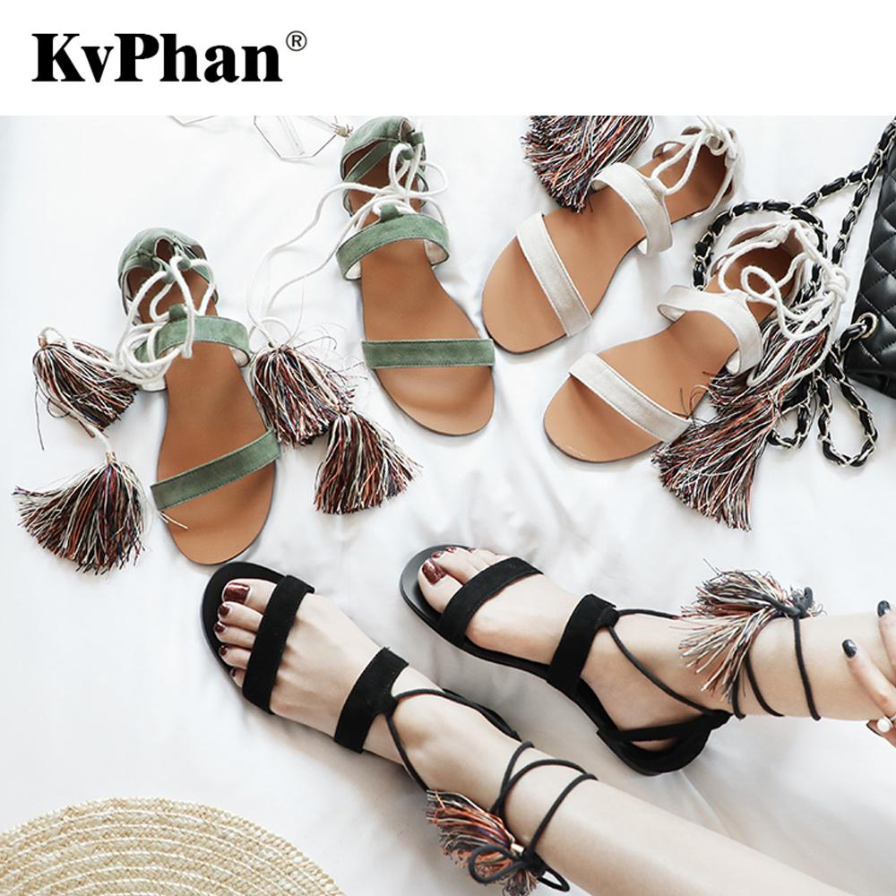 fb71e859950dea KvPhan Summer Roman Sandals Multiple Cross Strap Women Sandals Retro Fringe  Lace Up Kid Suede Three Colors Lady S Flats Heels Gladiator Sandals From ...