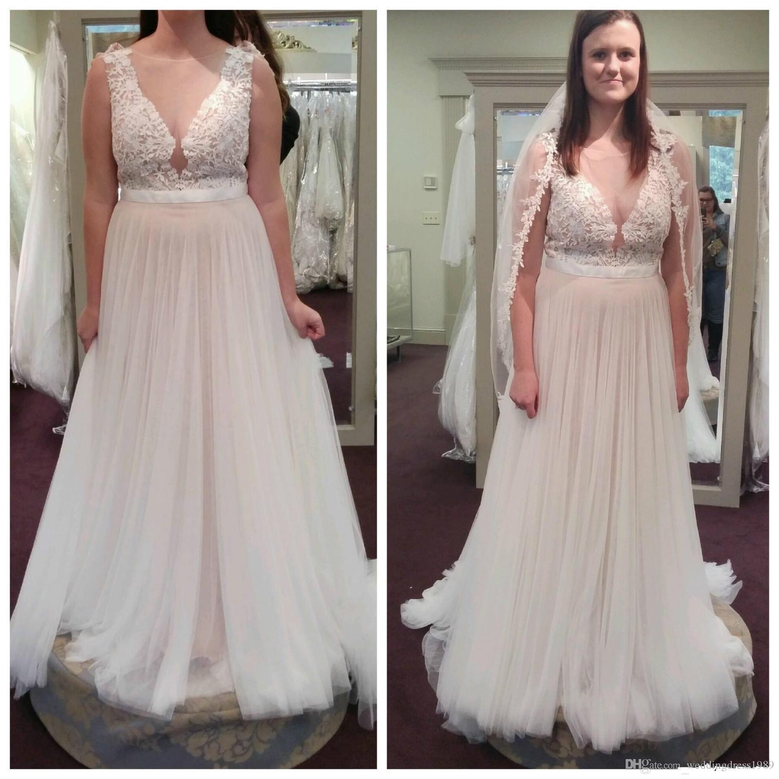 Discount Fashion Sheer Lace Bohemian Beach Wedding Dresses Plus Size ...
