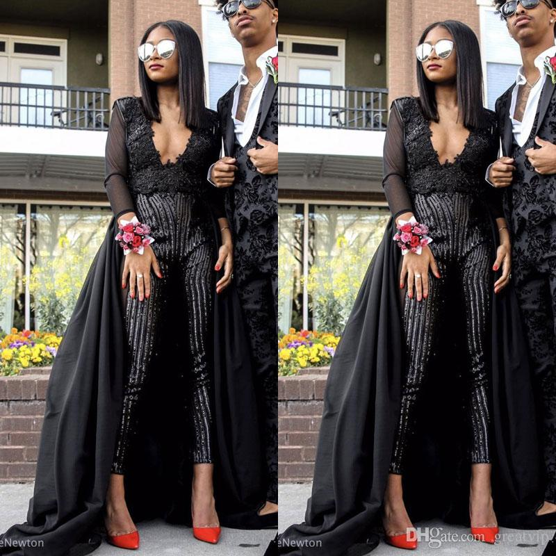 c71b2e8369d 2019 New Fashion Prom Gowns Jumpsuits V Neck Beading Pants Black Evening  Party Dresses Plus Size Vestidos De Fiesta Discounted Prom Dresses Exotic  Prom ...