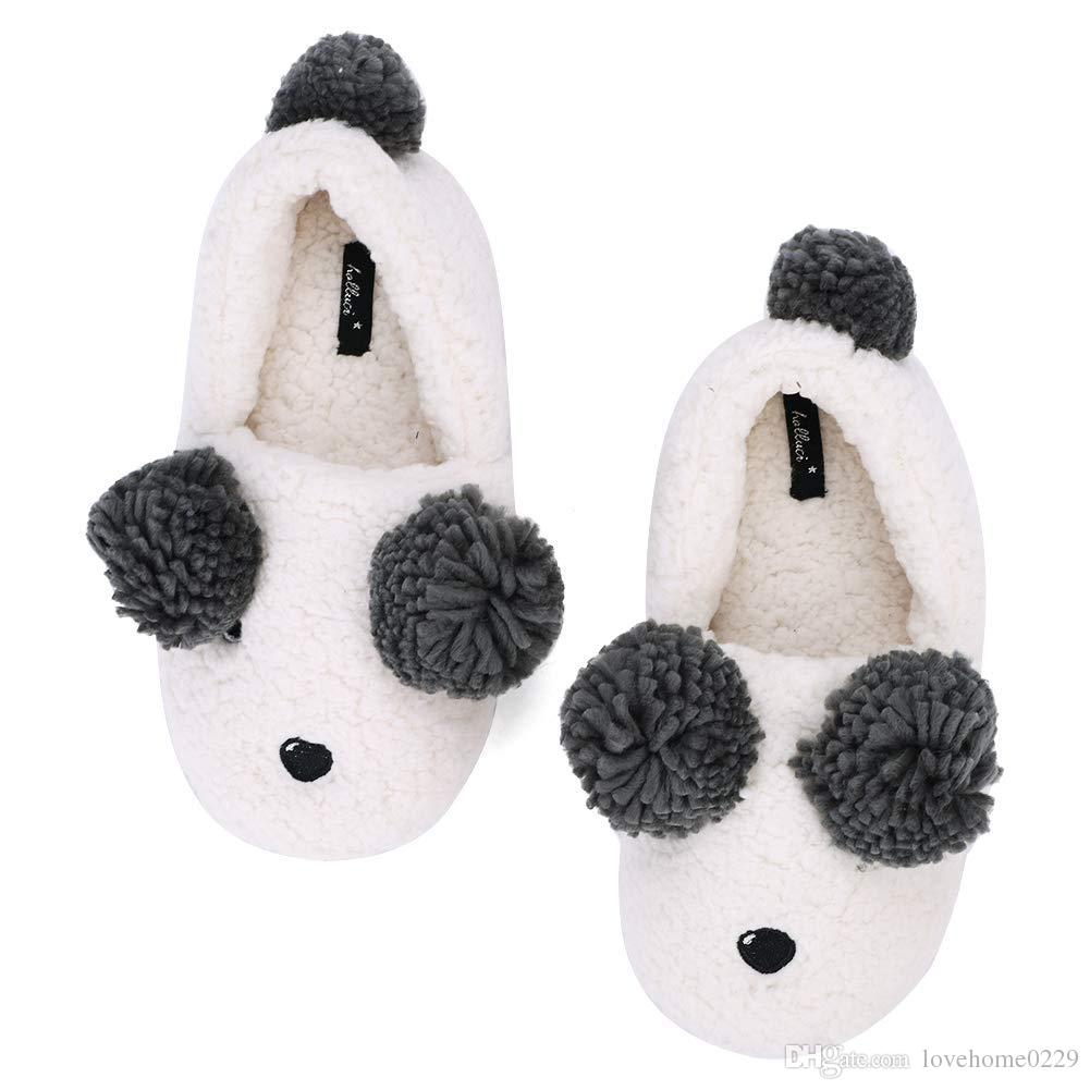 340130396 2019 Womens Indoor Warm Fleece Slippers White Sheep Bear Cotton Comfortable Slippers  Ladies Girls Cartoon Winter Soft Bottom Booties Non Slip From ...