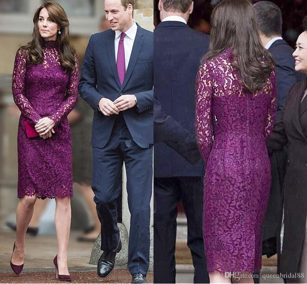 Kate Middleton Formal Party Dresses 2018 High Collar Long Sleeves Celebrity Evening Gowns Knee Length Lace Short Prom Dress