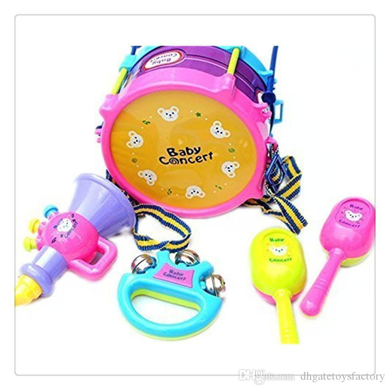 Wholesale 5Pcs Kids Baby Roll Drum Musical Instruments Band Kit Children Toy Set Xmas Gift High Quality Hot Sale