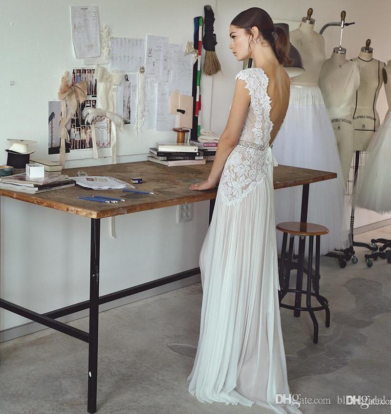 Boho свадебные платья Lihi Hod 2018 богемный свадебные платья с Cap рукава и V шеи плиссированные юбки элегантный A-Line свадебные платья с низкой спинкой
