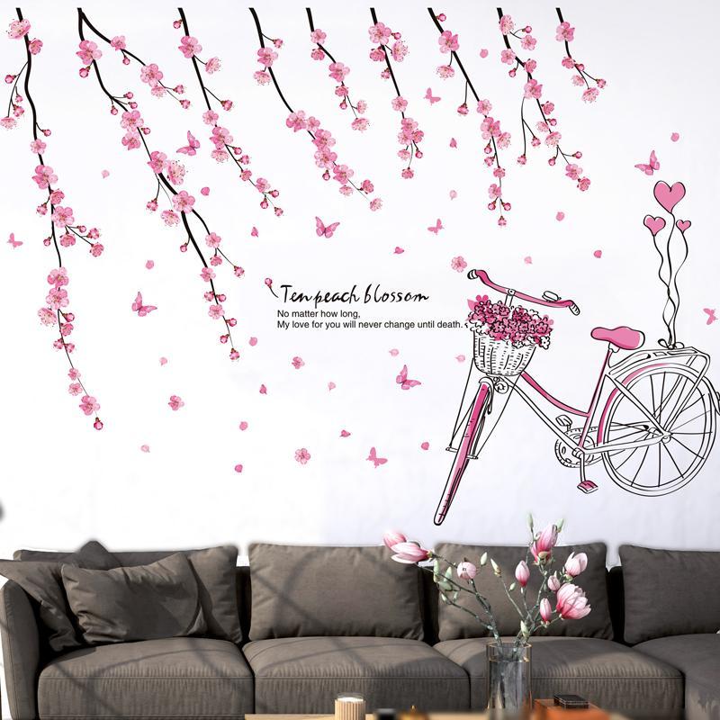 shijuehezi pink peach flower wall stickers pvc material diy tree