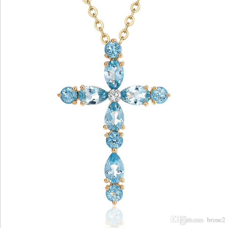 Wholesale zhen new plating 18k gold plated topaz natural color stone wholesale zhen new plating 18k gold plated topaz natural color stone cross pendants female clavicle necklace wholesale gold pendants for necklaces flower aloadofball Image collections