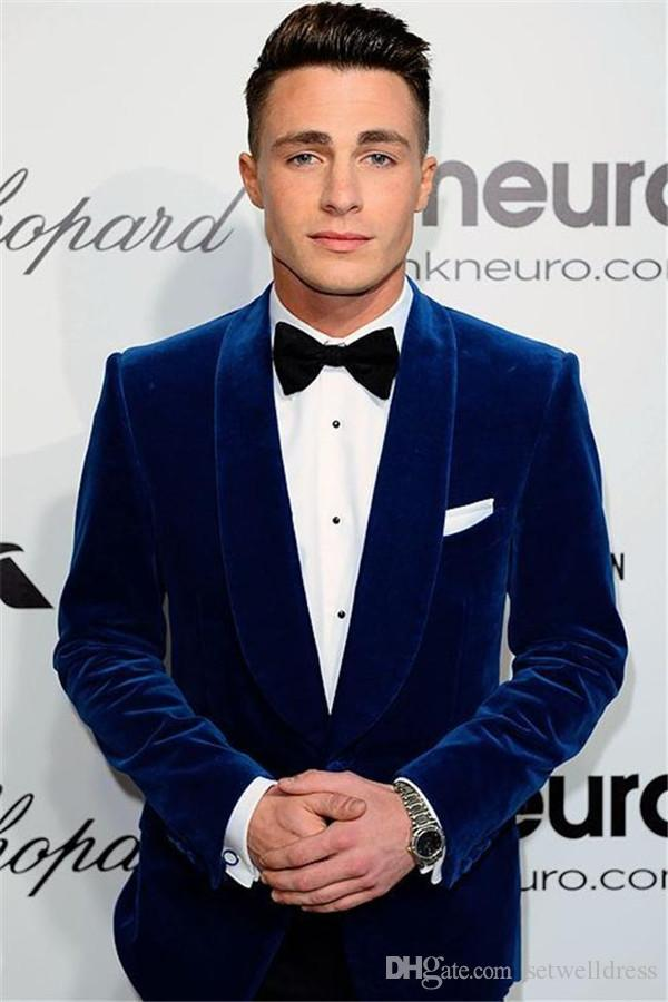 Custom Made Royal Blue Velvet Wedding Groom Tuxedos Two Piece Prom party Suit Shawl Lapel Cheap Mens Wedding Suits Jacket+Pants+Tie