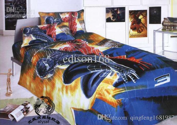 New beautiful spiderman Cartoon size 4pcs Kids Bed Quilt Cover bedding sets  in a bag children gift